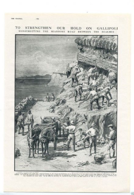 1915 WW1 PRINT GALLIPOLI Constructing Seashore Road Between BEACHES Engineers Royal Naval Division FRANK DADD (1)